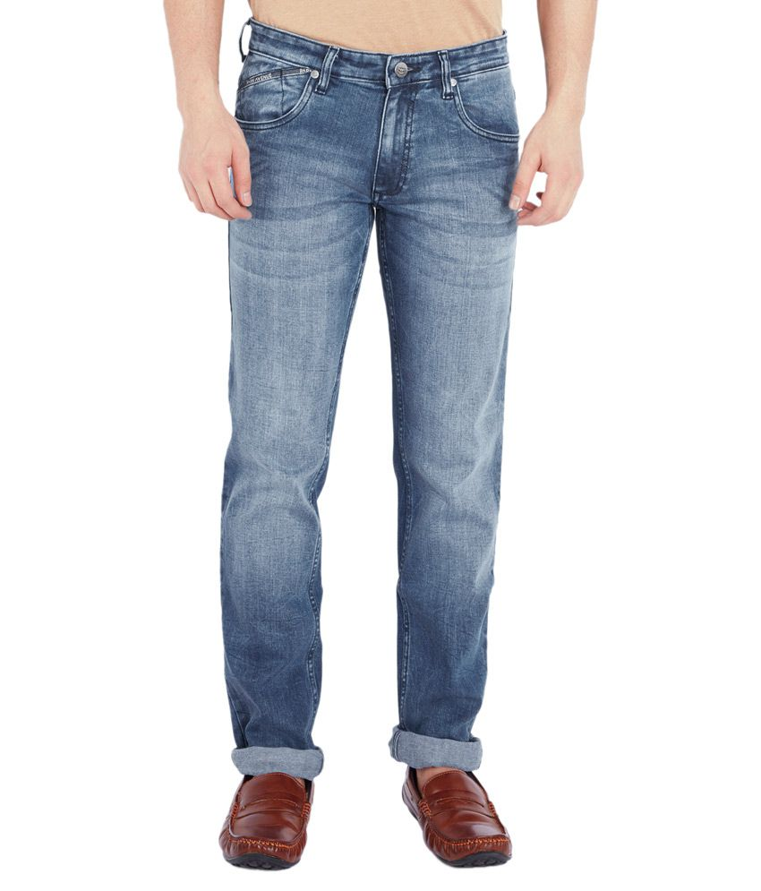 Park Avenue Blue Regular Fit Solid Jeans