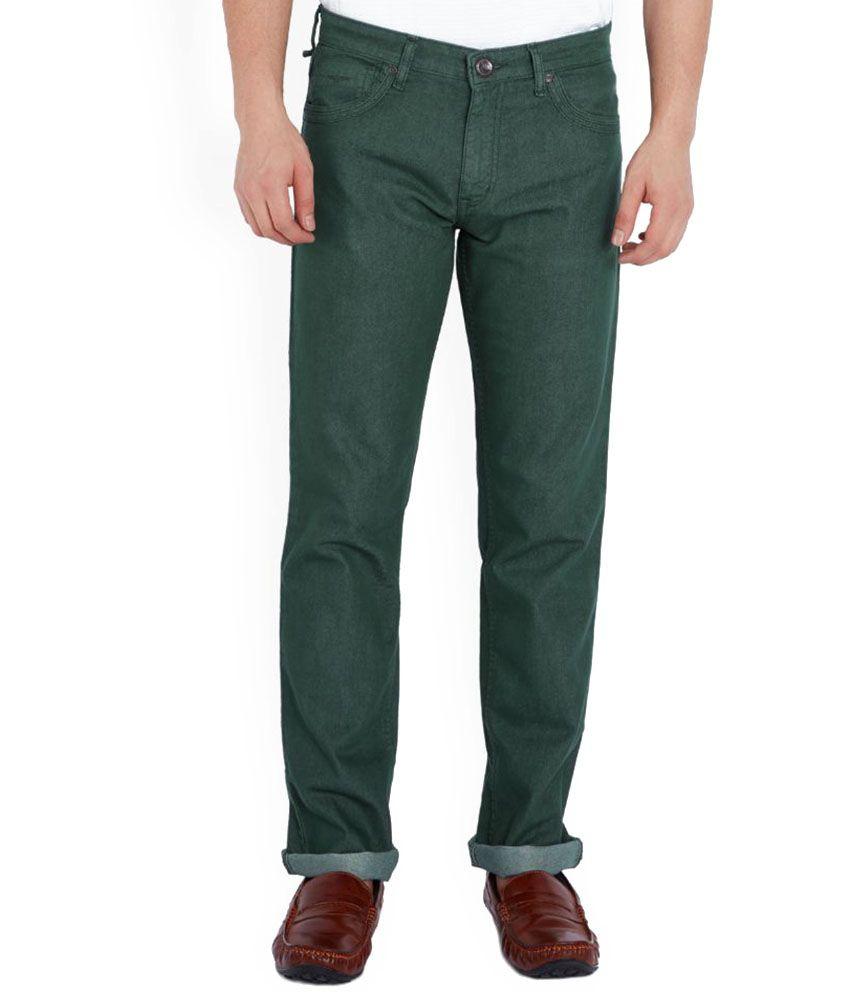 Park Avenue Green Regular Fit Solid Jeans