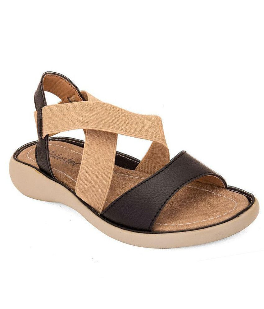 Solester Black Wedges Heels