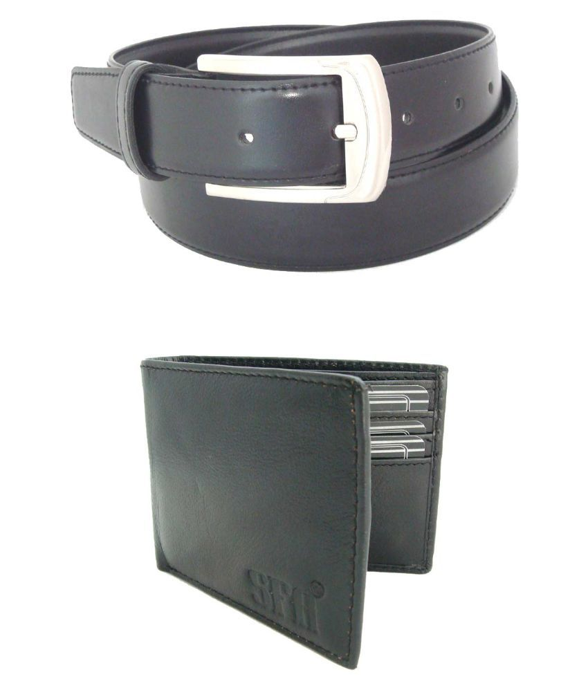 SFA Black Formal Belt With Wallet For Men