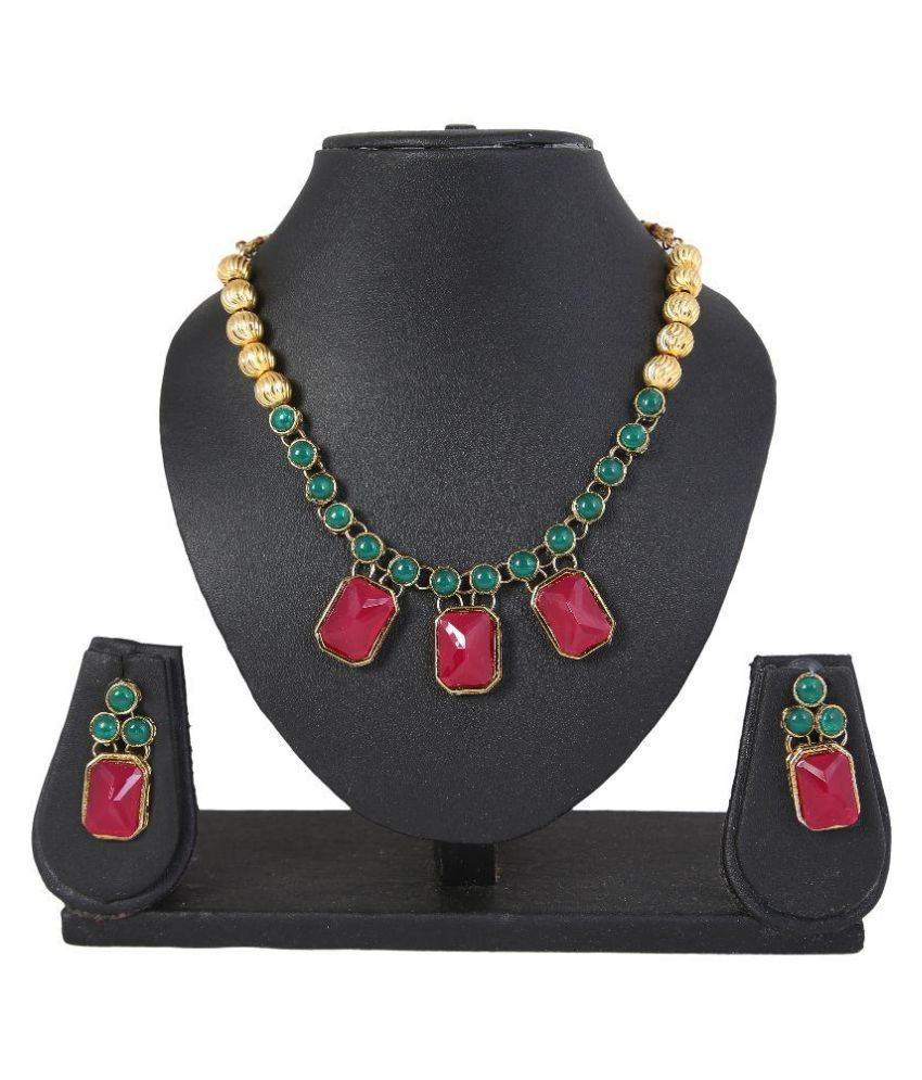 Adoreva Alloy Gold Plating kundan Multi Colour Necklaces Set