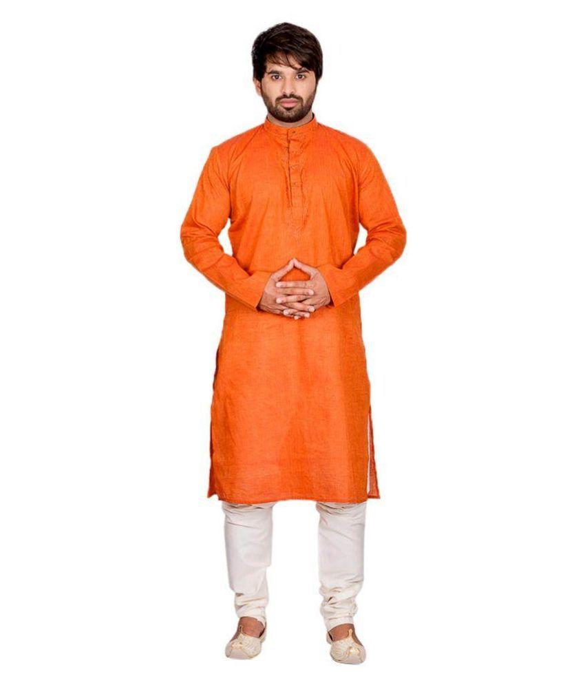 Ethiic Orange Kurta Pyjama Set