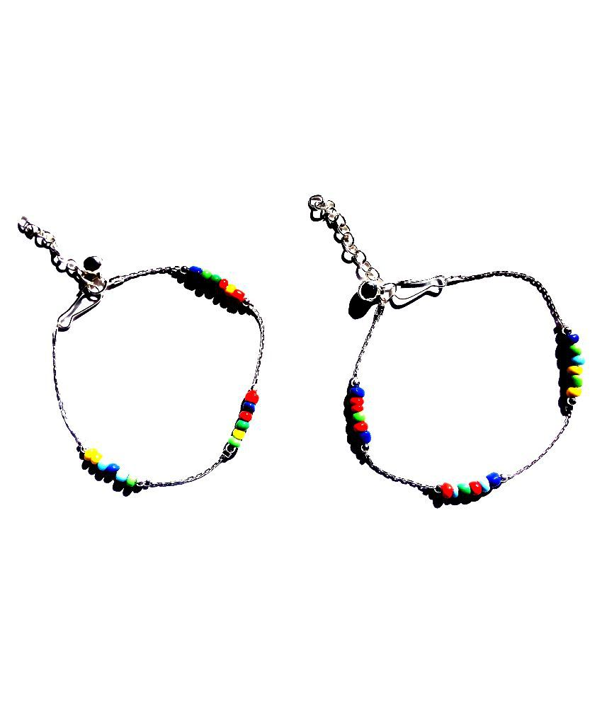 Uma Alloy Silver Plating Crystal Studded Multi Coloured Pair Of Anklets