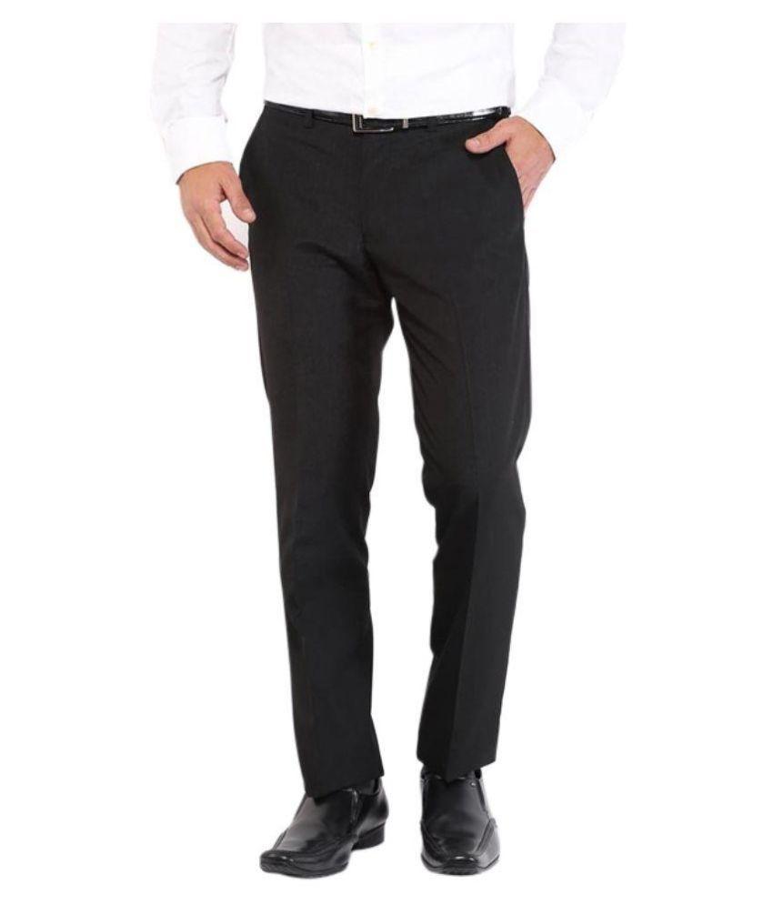 Febulous Black Slim Fit Flat Trousers