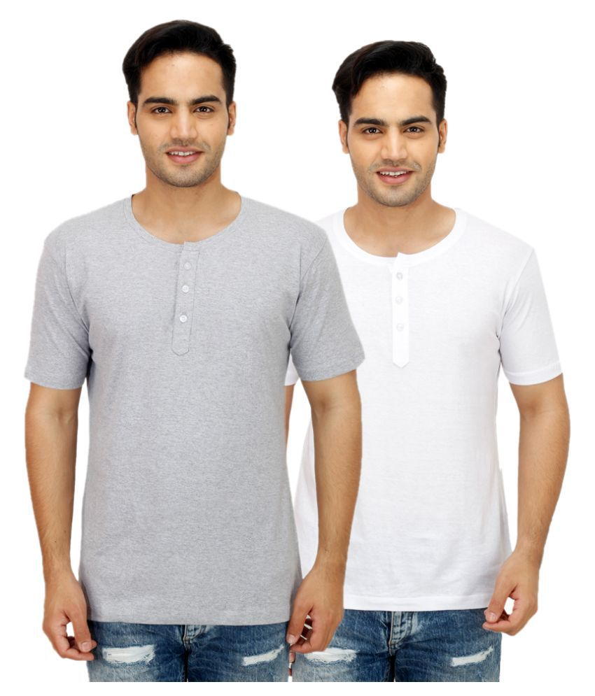 Sanvi Traders Multi Henley T Shirt Pack of 2