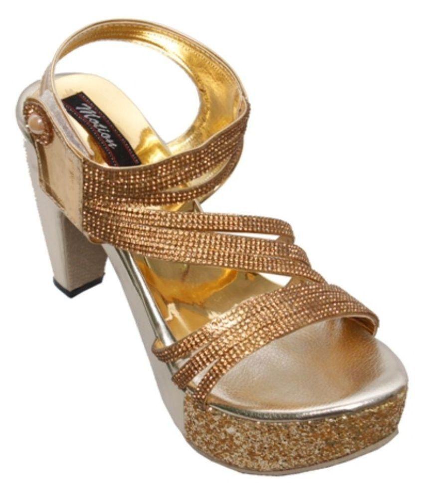 Step Zone Gold Stiletto Heels