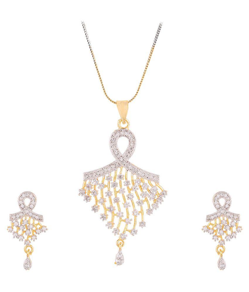 Zeneme Alloy Gold Plating American diamonds Studded Gold Coloured Pendant set