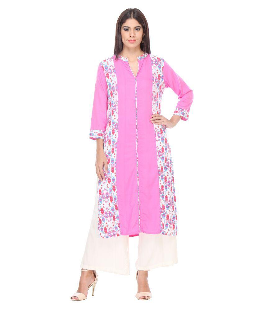 Riti Riwaz Pink Cotton Kurti with Palazzo