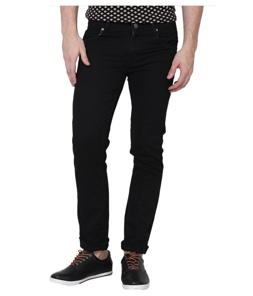 Stylox Black Slim Fit Solid Jeans