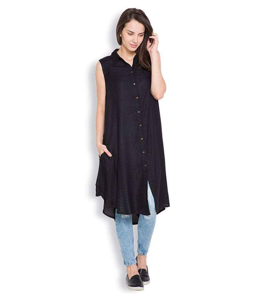 Women`s Clothing!! Upto 70% + Extra 15% off On Top Wear Dressess & More By Snapdeal | Tokyo Talkies Black Rayon Tunics @ Rs.699