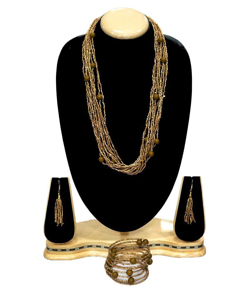 Urban-Trendz Golden Beads Necklace Set with Bracelet