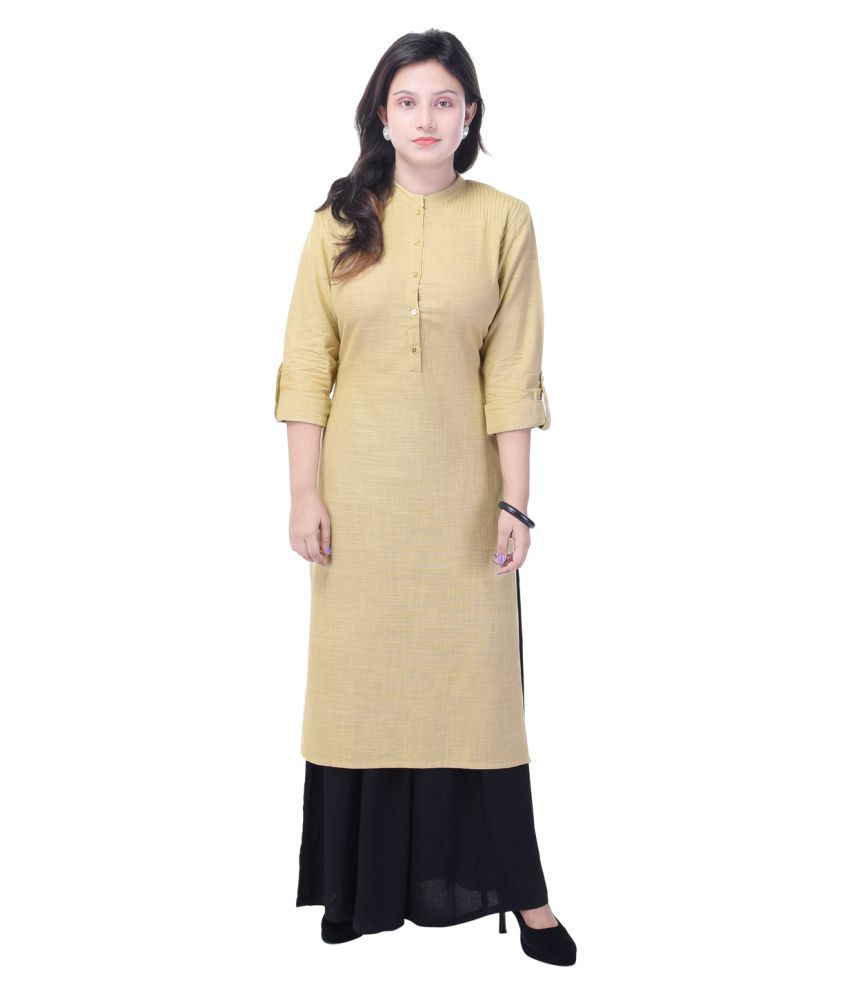 Khushfashions Beige Cotton Straight Stitched Suit