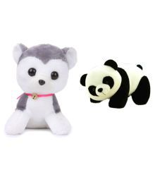 Deals India Combo Of Multicolour Cute Dog With Bell Soft Toy And Panda Soft Toy