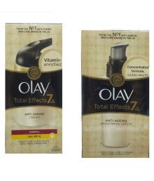 Olay Imported Total Effect 7 In One Anti-Aging & Serum 50 Ml Pack Of 2 (1 Normal Day Cream SPF 15 & 1 Smoothing Serum With Ayur Freebie