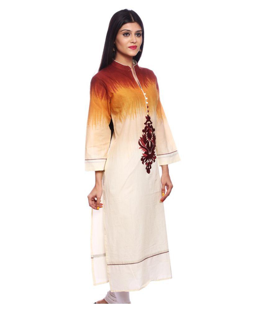 Saamarth Impex Beige Cotton Straight Kurti