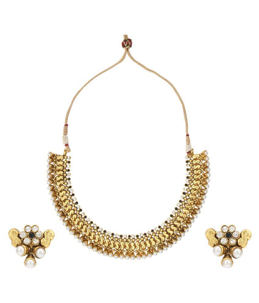 Adiva Golden Alloy Necklace Set