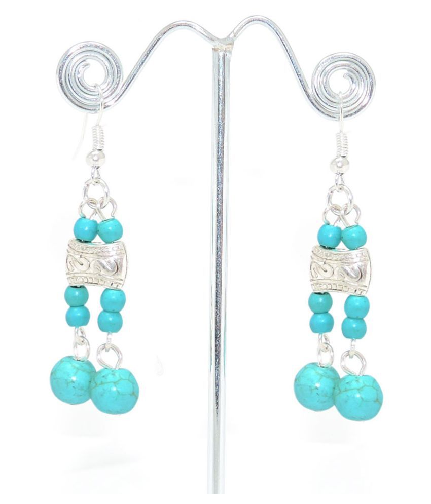Sanaa Creations Turquoise Alloy Hanging Earrings