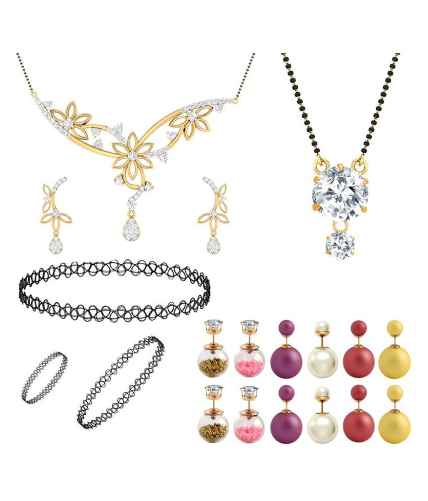 Jewels Galaxy Multicoloured Exclusive Mother-Daughter Combo 6 Pair Of Emma Watson Earrings, 2 Mangalsutra, 1 Choker Combo Set (Pack Of 19)