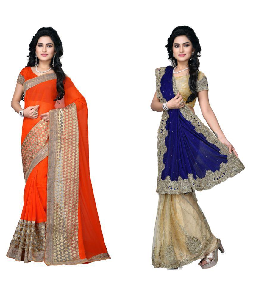 TheMorris Multicoloured Silk Saree Combos