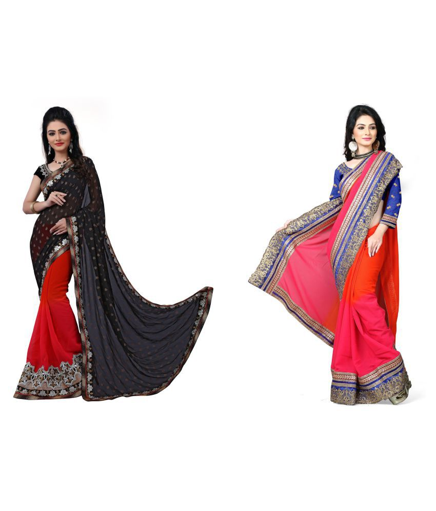 Appyfashion Multicoloured Polyester Saree Combos