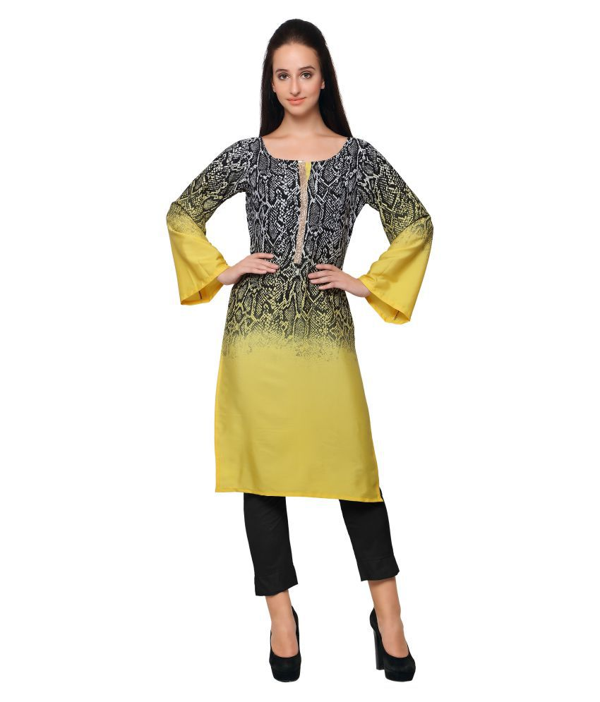 Ahalyaa Multicoloured Crepe Straight Kurti