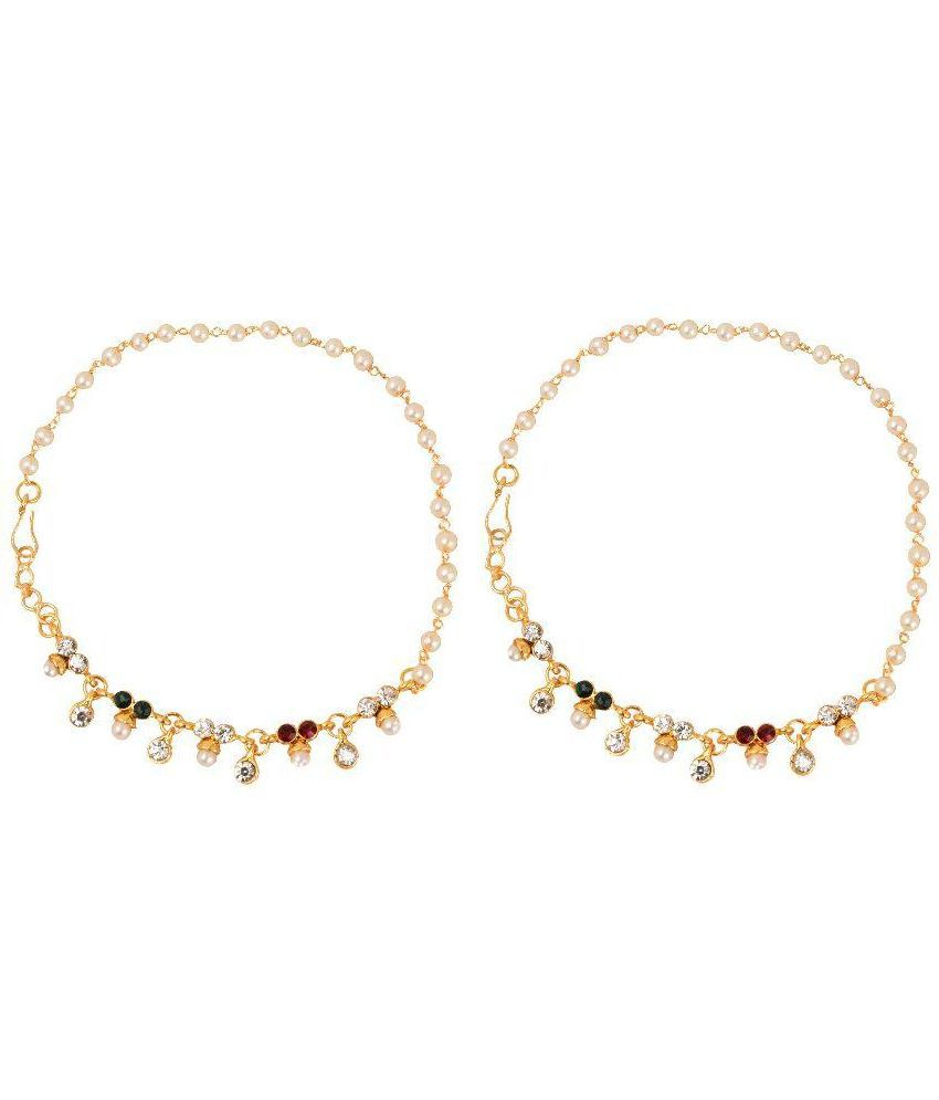 Vihana Arts Golden Alloy Pair of Anklets