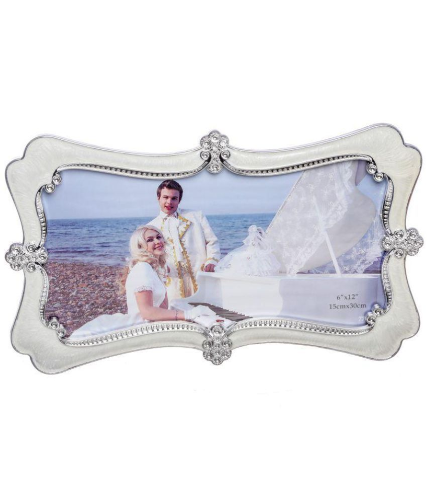 Geetanjali Decor Brass TableTop White Single Photo Frame