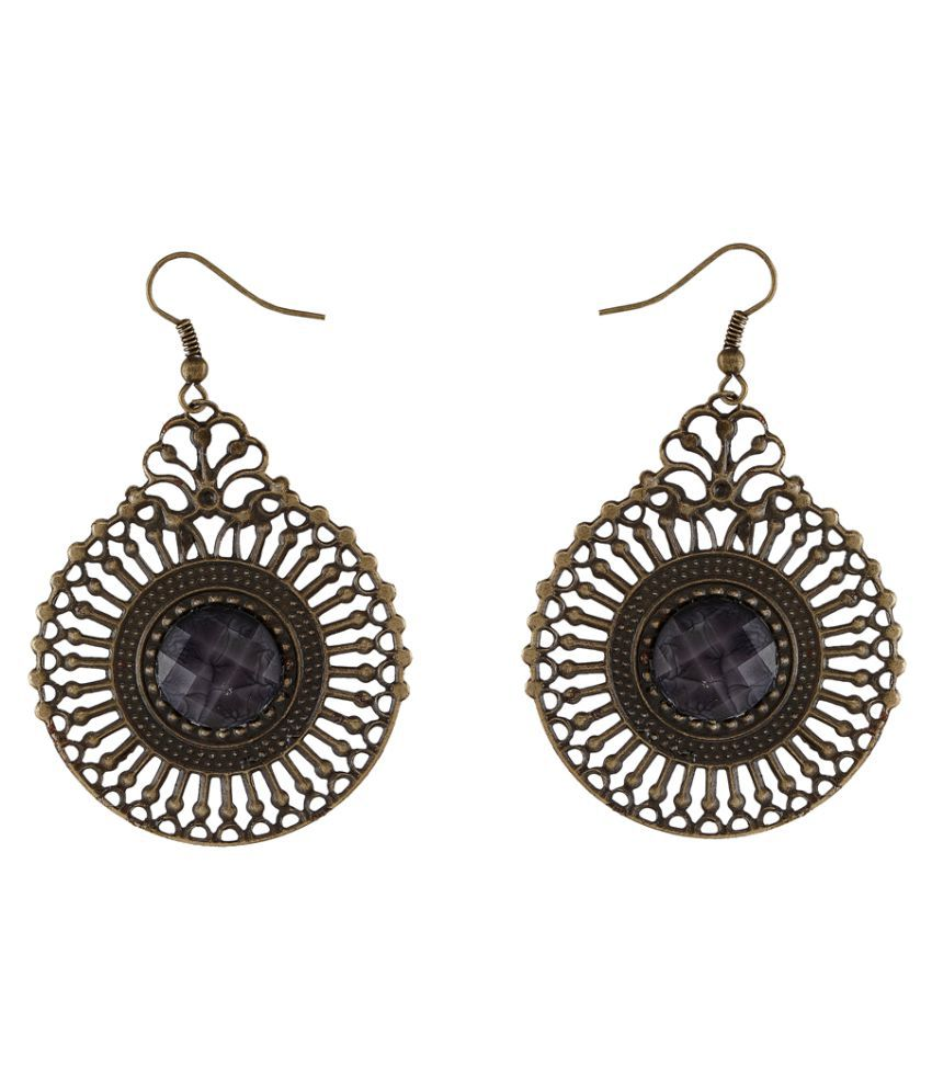 9blings Latest Filigree Work Metal Black Stone Hoop Earring