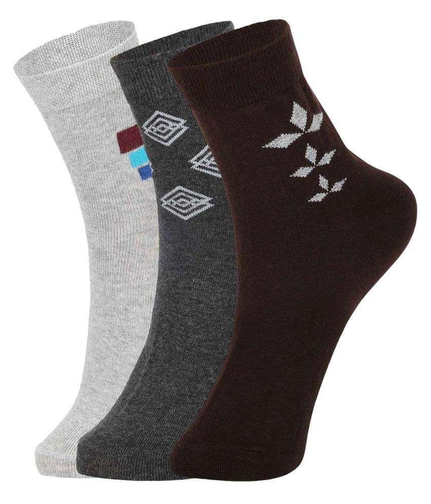 Dukk Multi Casual Mid Length Socks - Pack of 3