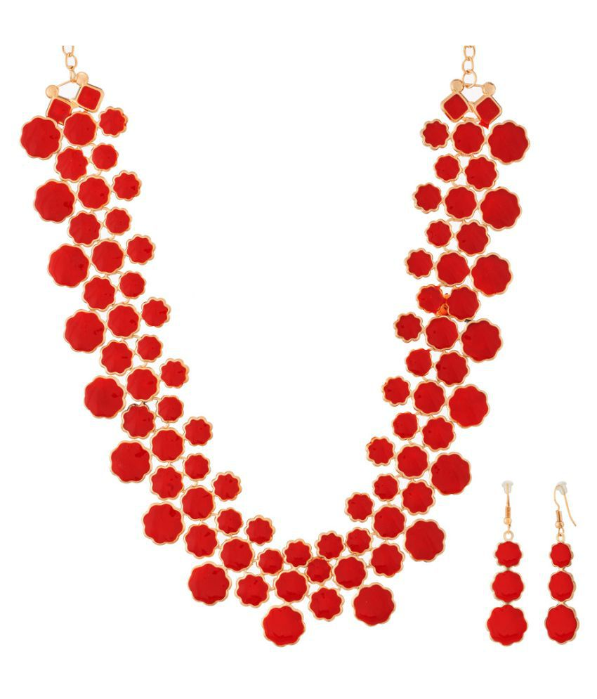 Jazz Jewellery Red Alloy Necklace Set
