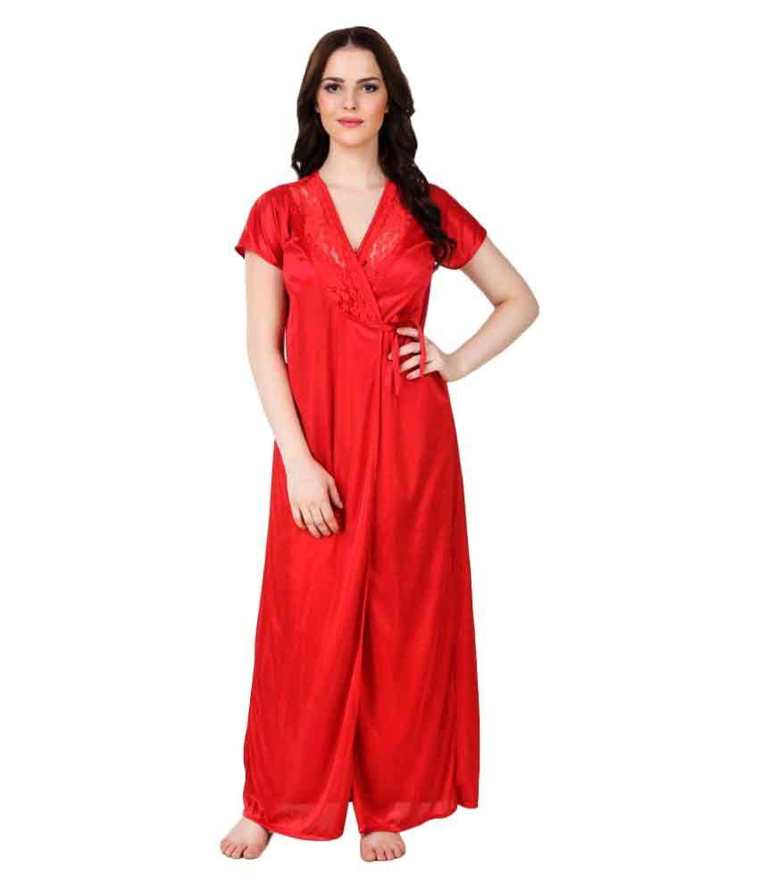 Austin-W Red Satin Nighty & Night Gowns