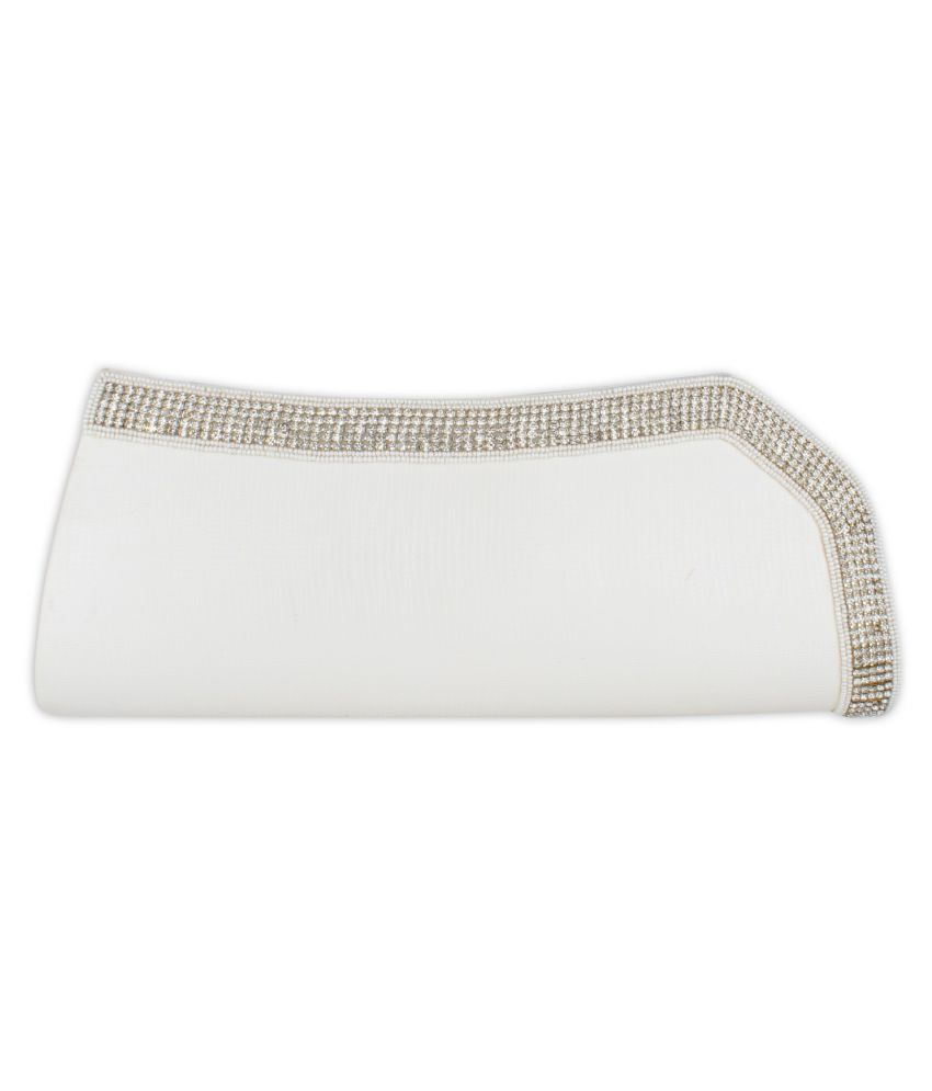 Xqzite White Fabric Box Clutch