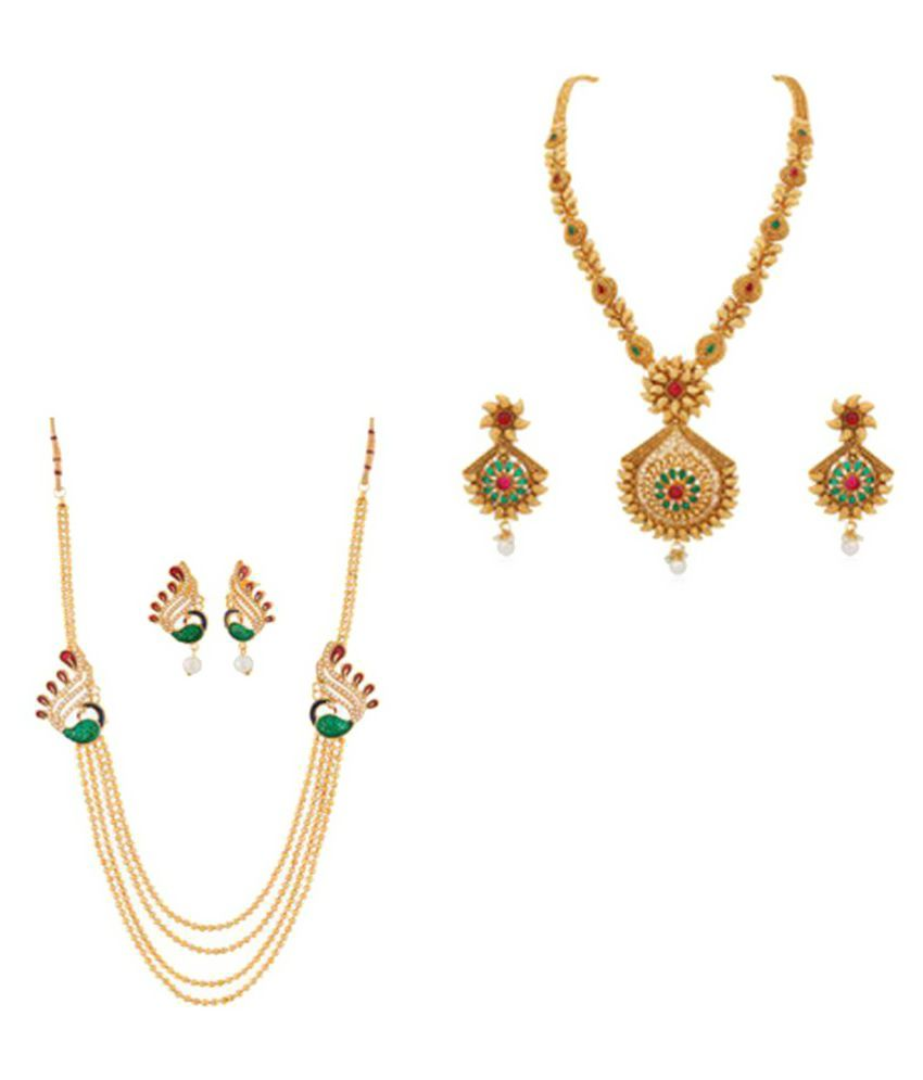 RG Fashions Jewellery Multicolour Copper Necklace Set Combo