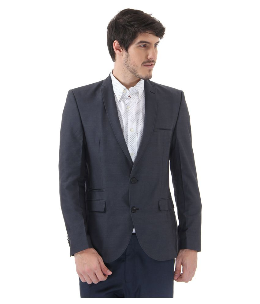 Selected Grey Solid Casual Blazers