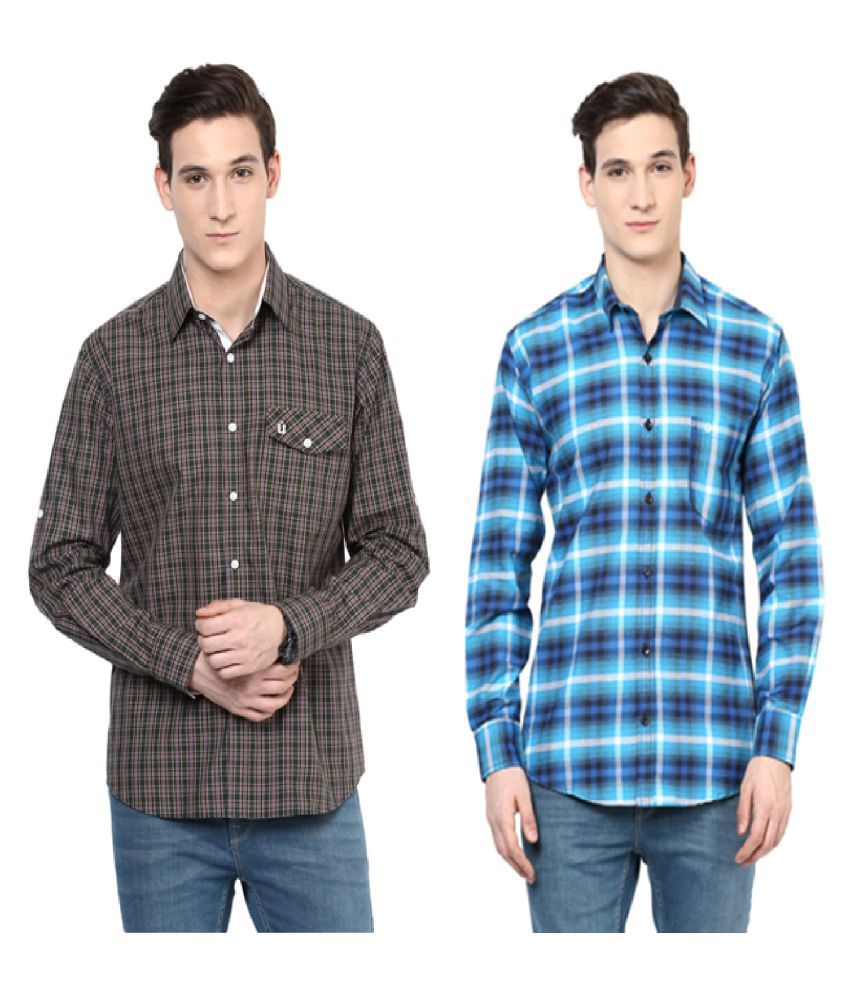 Urbano Fashion Multi Casuals Slim Fit Shirt - Pack of 2