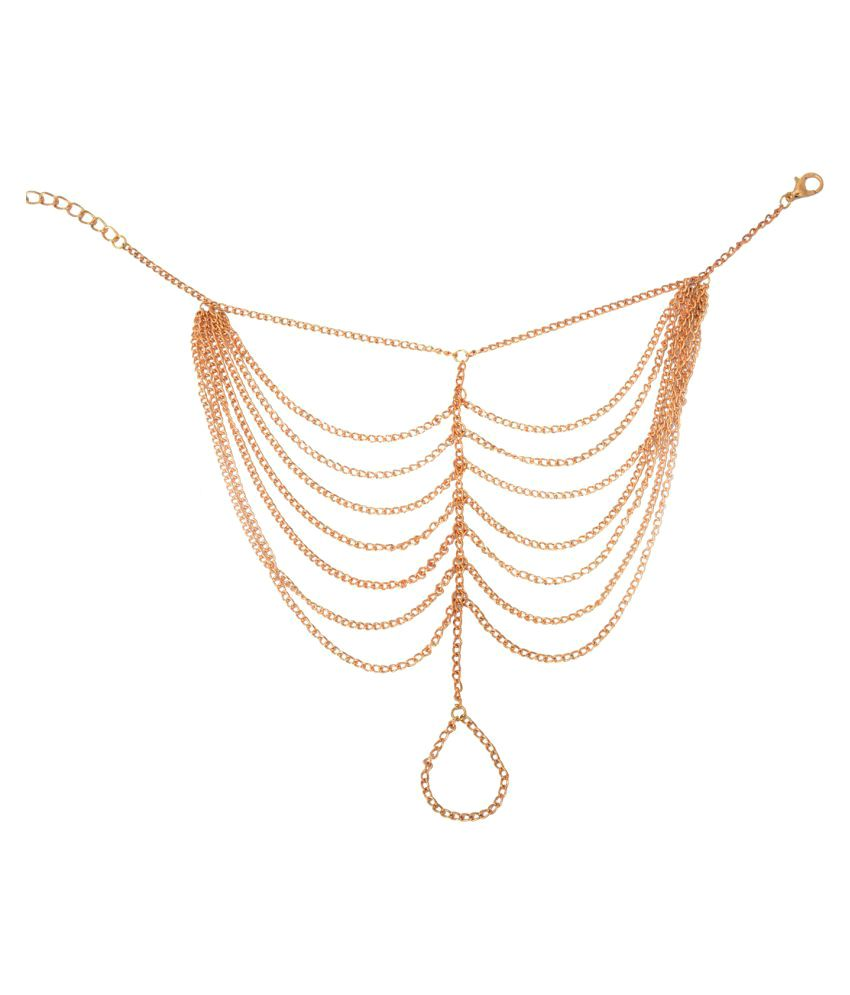Aaishwarya Golden Chain Link Tassel Anklet (single)