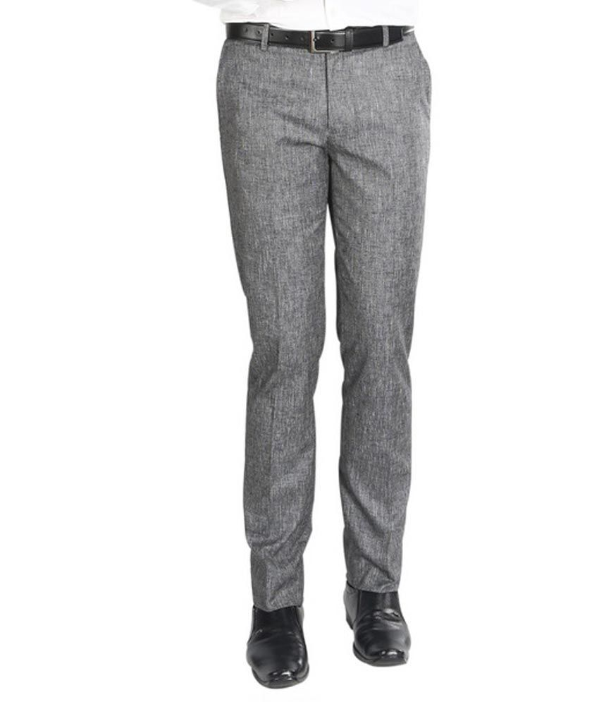 Numerics Grey Slim Flat Trouser
