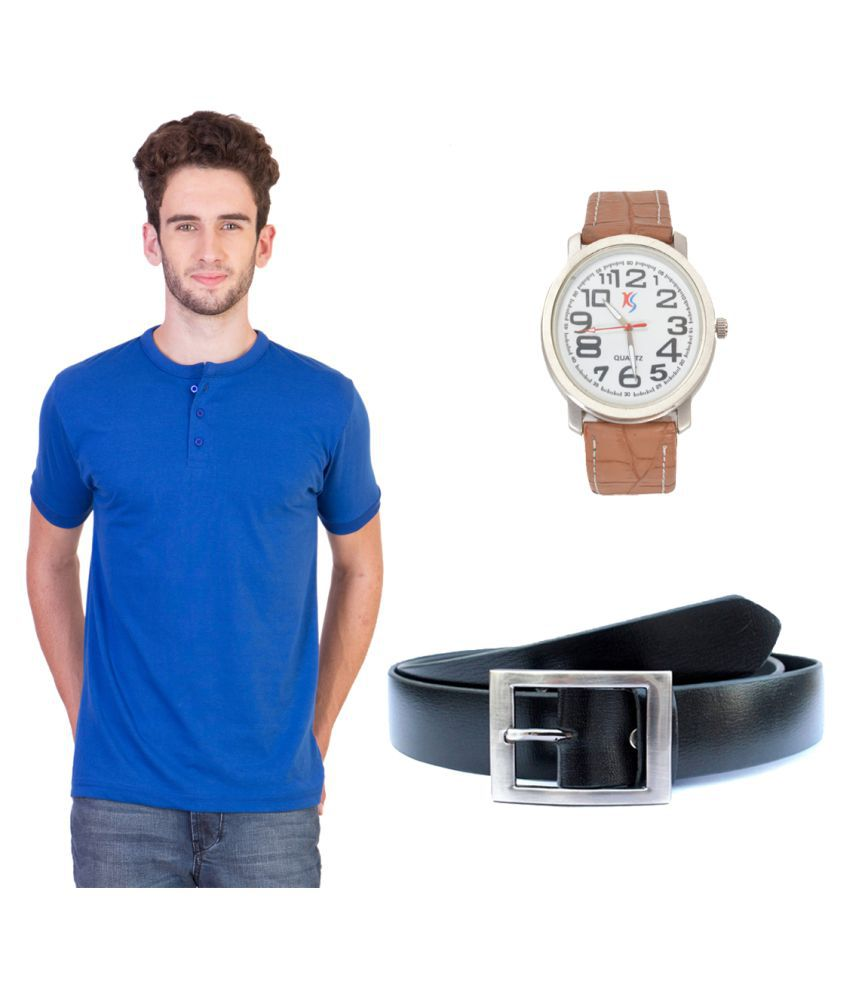 Knightly Fashion Blue Henley T-Shirt with Belt and Watch