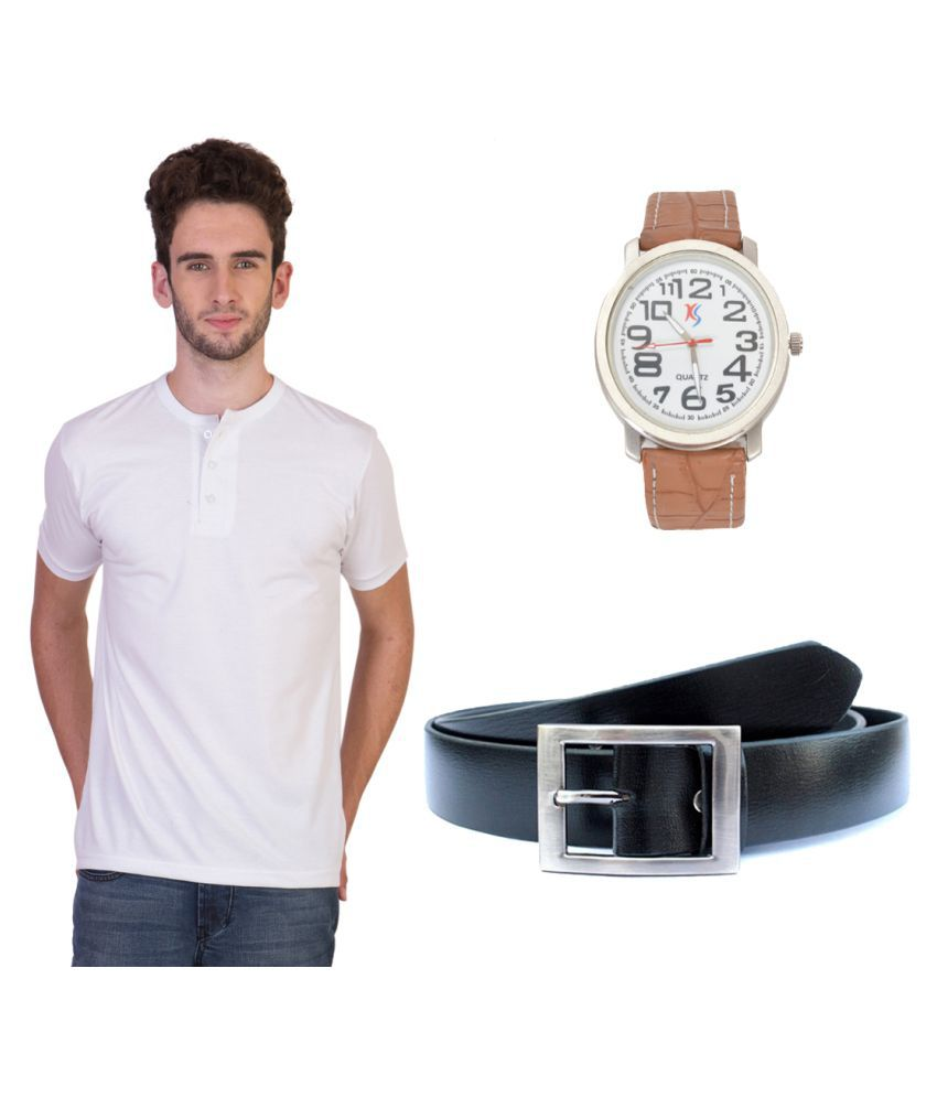 Knightly Fashion White Henley T-Shirt with Belt and Watch