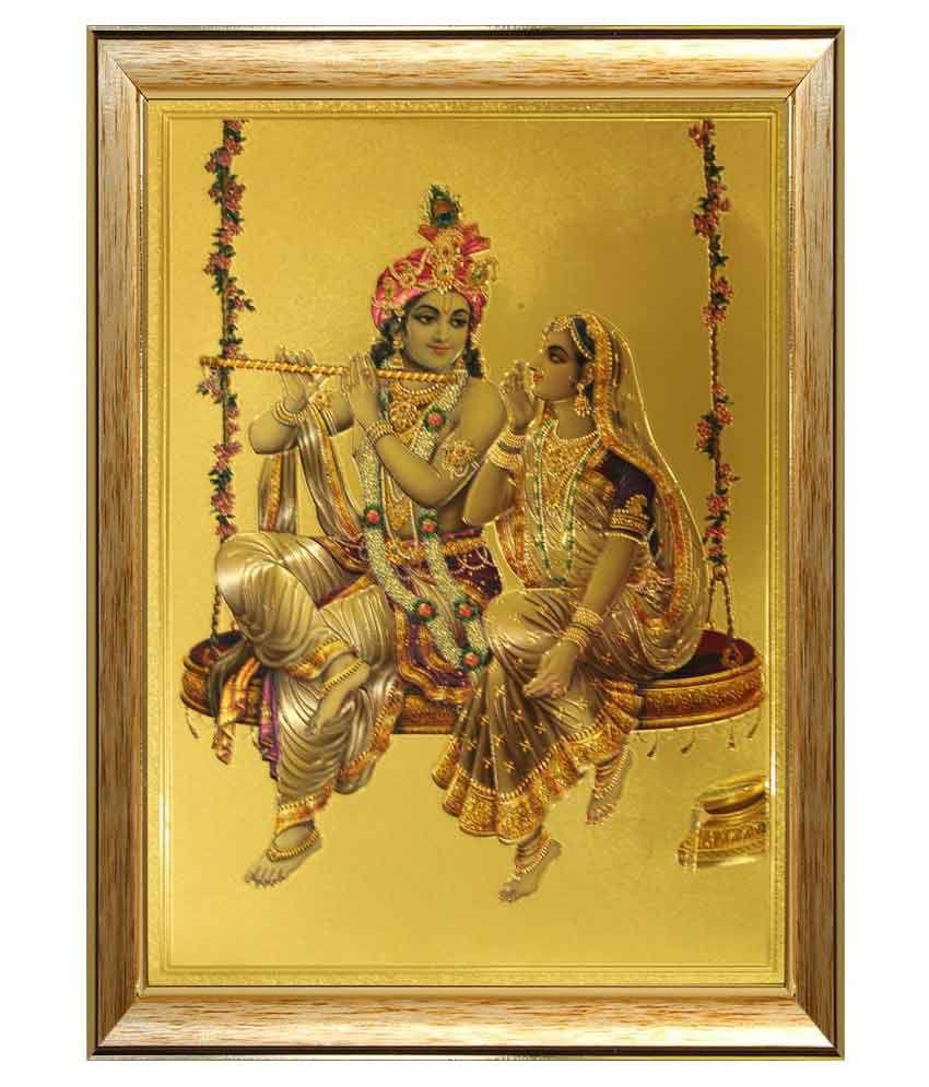 SAF Radha Krishna Ji Wood Religious Paintings With Frame Single ...
