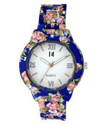 Excelencia Pretty Blue Floral Printed Analog Watch- For Womens
