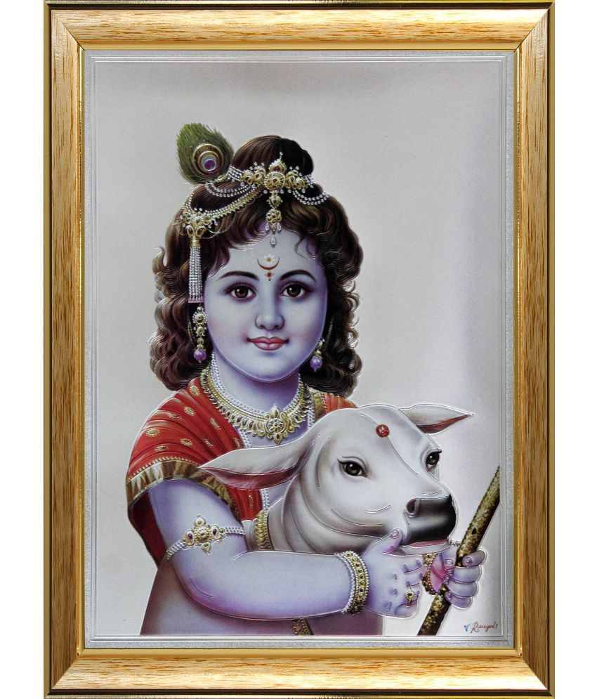 SAF Krishna  Wood Religious Paintings With Frame Single Piece