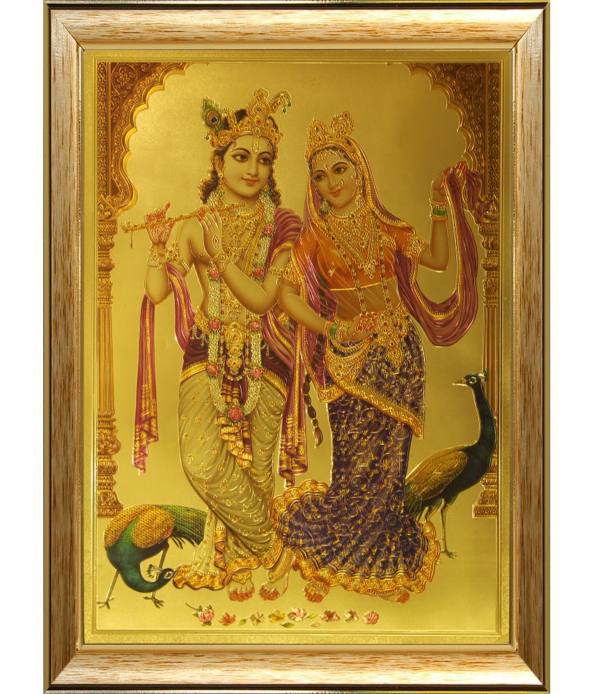 SAF Radha Krishna Ji Wood Religious Paintings With Frame Single Piece