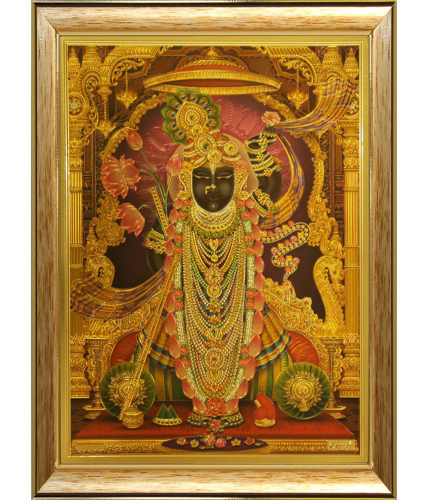 SAF Shri Nath Ji Wood Religious Paintings With Frame Single Piece