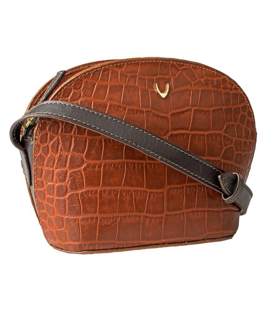 dff716e2b2 Hidesign Tan Pure Leather Sling Bag Hidesign Tan Pure Leather Sling Bag ...