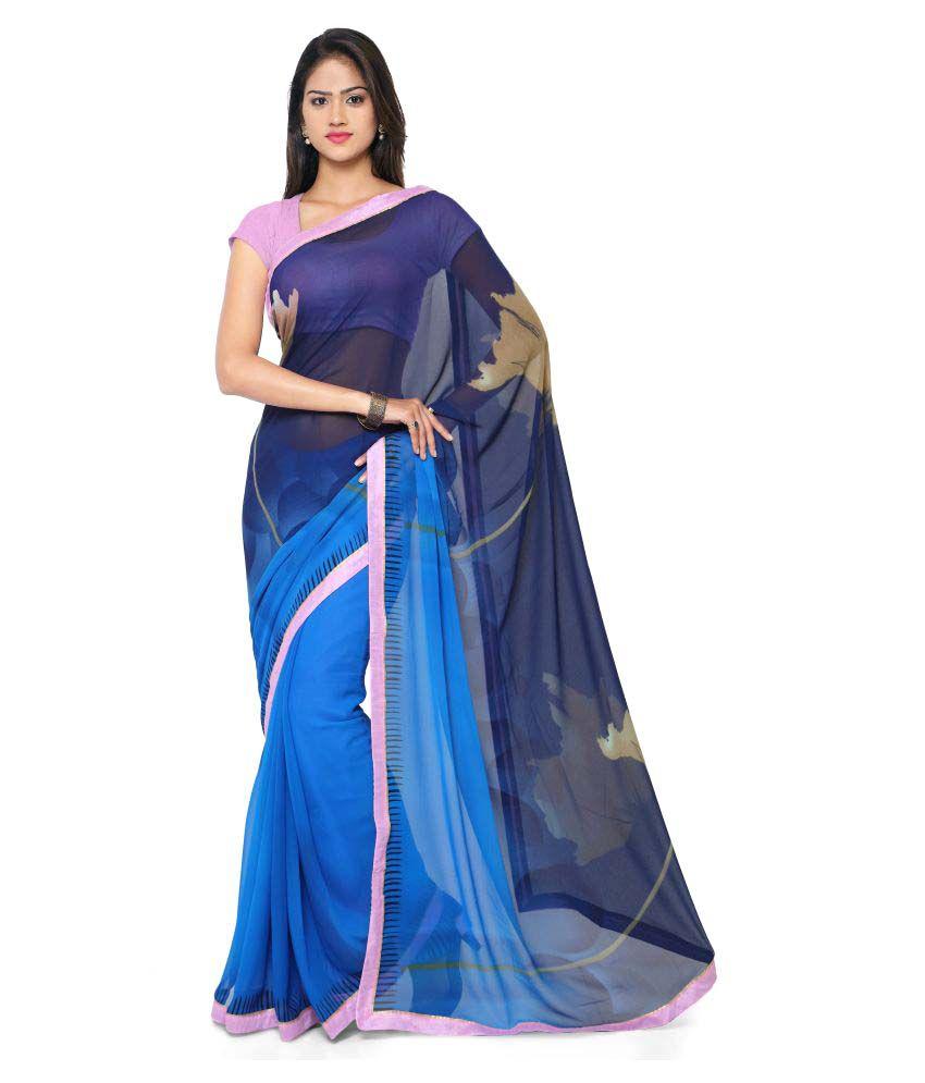 Nanda Silk Mills Blue Georgette Saree