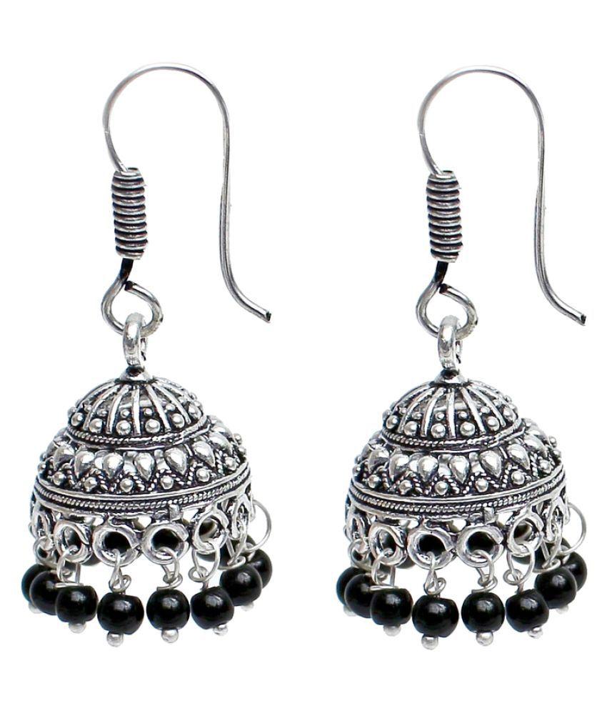 Lucky Jewellery Peals Silver Jhumki