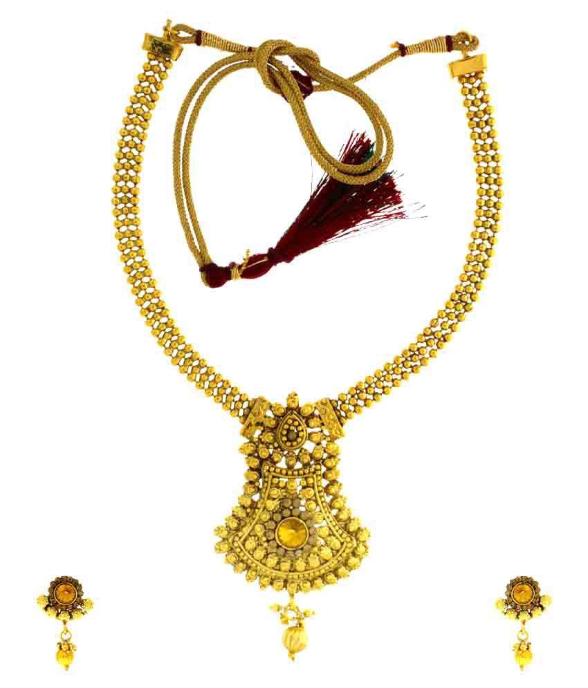 Anuradha Art Cubiz Zirconia Golden Necklace Set