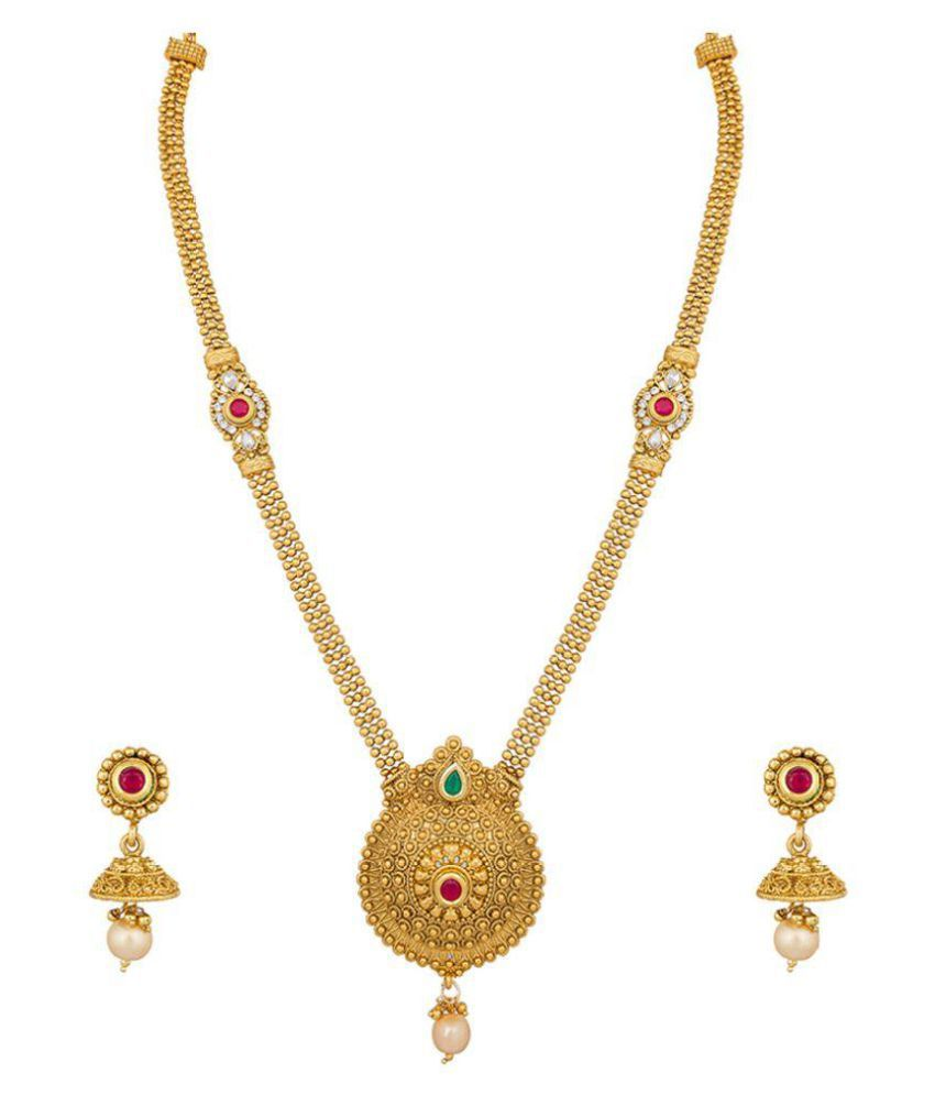 buy jewellers anjali set product golden necklace
