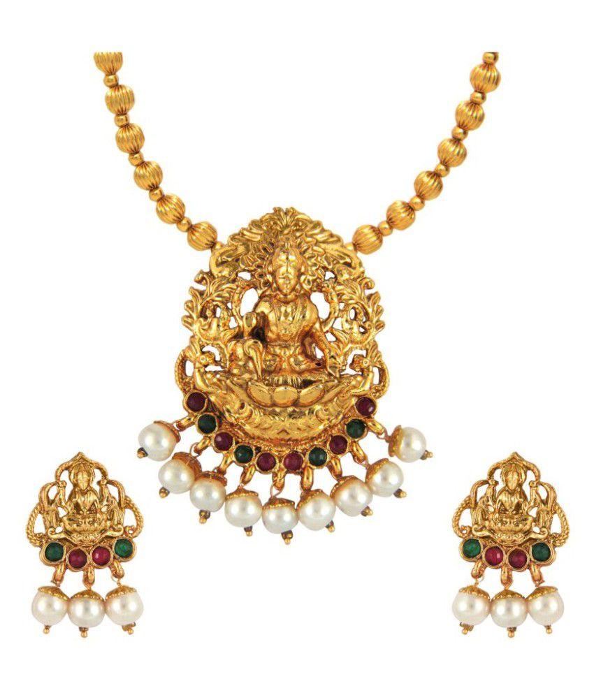Parisha Golden Alloy Necklaces Set